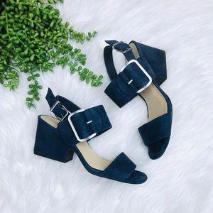 [Nurture] Blue suede Short Block Heel Sandals